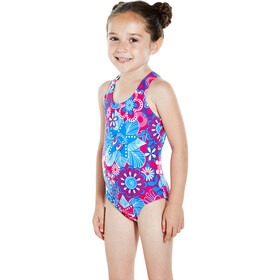 speedo Fantasy Flowers Essential All Over Swimsuit Kinder electric pink/neon blue/white